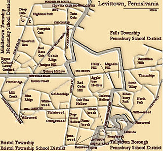 Levittown, Pennsylvania - Map of the municipalities, school districts and original sections of Levittown. The thick gray lines are municipal borders.