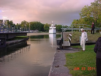 Göta Canal - Lock at Lilla Edet, built in 1916, and the last lock on a westward journey. The original lock was opened in 1607 and was the first lock in Sweden.