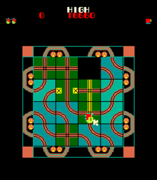 The player moves tiles to guide the locomotive along the track.