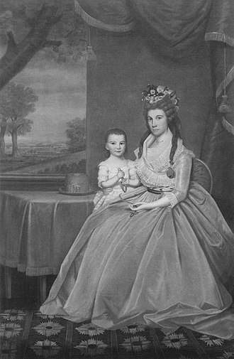 Elijah Boardman - Mary Anna Whiting and son William Whiting Boardman, oil canvas painting by Ralph Earl in 1795 or 1796. William was the first son of Mary Anna and Elijah, and went on to have a political career of his own.