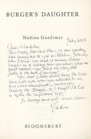 Burger's Daughter - Image: Nadine Gordimer Burger's Daughter inscribed