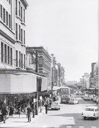 History of Newcastle, New South Wales - Ron Morrison's classic photo of a bustling Hunter Street, 1968. British Leyland buses have replaced the trams.