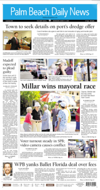 Palm Beach Daily News - The March 11, 2009 front page of The Palm Beach Daily News