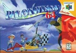 "The image shows a stylized title displaying ""Pilotwings 64"" in blue and red text. Two characters pose on the far left beside a yellow and checkerboard-colored autogyro. A third character is running from the right side of the foreground toward the others. On the right are the logos ""Only for Nintendo 64"" under a peeled away portion of the image and ""K–A ESRB"" set within a red tint."