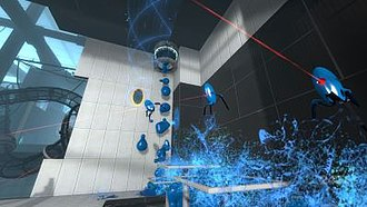 Portal 2 - Portal 2 features gels that impart special properties to surfaces or objects they touch. Here, blue Repulsion Gel causes the painted turrets to bounce off any surface.