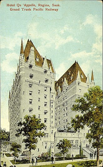 Hotel Saskatchewan - Postcard of the building-in-progress Chateau Qu'Appelle published and distributed in or about 1913