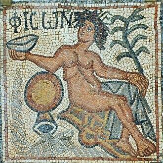 Pishon - Picture of mosaic representing Pishon from Church of Theodorias (Qasr Libya) ca 539 CE.