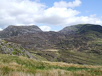 Rhinogydd - Rhinog Fach and Y Llethr from the slopes of Rhinog Fawr