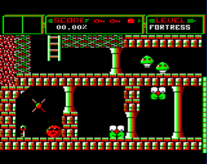 Ricochet (1989 video game) - BBC Micro screenshot. SPRAT is shown bottom left.