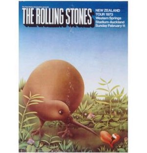 The Rolling Stones Pacific Tour 1973 - Poster for the sole New Zealand concert, designed by Ian McCausland.