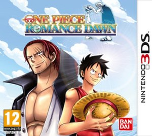 """One Piece: Romance Dawn - European 3DS cover art, which also features """"Red Haired"""" Shanks and Monkey D. Luffy"""