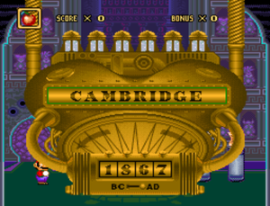 Mario's Time Machine - Mario about to travel through time to Cambridge in 1876, A.D..