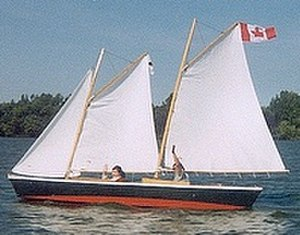 "Phil Bolger - A Bolger-designed sharpie schooner, built of plywood in the ""instant boat"" style"