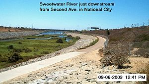 Sweetwater River (California) - View of the Sweetwater River near its mouth on San Diego Bay