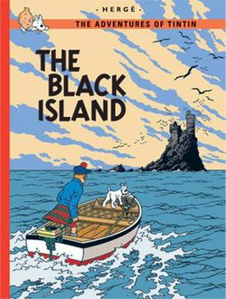 Book cover. Tintin and Snowy are on a motorboat heading to a sinister island.