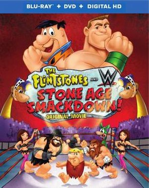 The Flintstones & WWE: Stone Age SmackDown! - Blu-ray cover featuring John Cenastone and Fred Flintstone on the foreground.