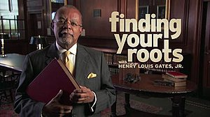 "Finding Your Roots - Image: Title card from the second season of ""Finding Your Roots"""