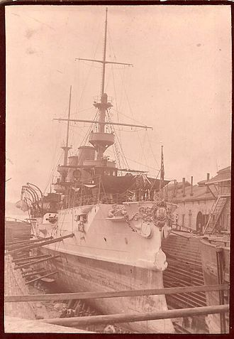 USS Albany (CL-23) - 1903 U.S.S. Albany in dry dock Boston, Massachusetts