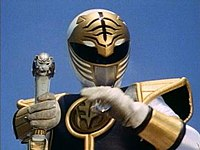 Tommy as the White Ranger.