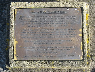 Maurice Wilkins - A plaque commemorating Maurice Wilkins and his discovery, beneath the monument, Pongaroa, New Zealand