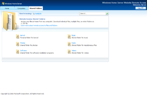 Windows Home Server - Web Interface showing the shared files UI