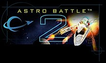 """Astro Battle"", A stylized logo showing a ship orbiting a planet on the left, a simple ship design fleeing from an explosion on the right, and in the middle a large wireframe '2'. Along the top, ""ASTRO BATTLE"" is written in yellow letters."