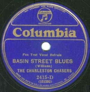 Basin Street Blues - Columbia Records 78  by the Charleston Chasers with additional lyrics by Jack Teagarden and Glenn Miller, 1931