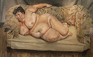 "Lucian Freud - Benefits Supervisor Sleeping, 1995, a very large portrait of ""Big Sue"" Tilley, showing his handling of flesh tones, and a typical high viewpoint"