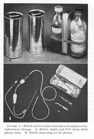 Blood plasma - Dried plasma packages used by the British and US militaries during WWII