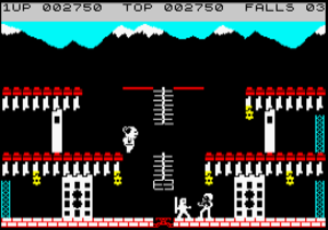 Bruce Lee (video game) - Screenshot of the ZX Spectrum port. Bruce and The Ninja are fighting at the bottom centre; Yamo is preparing to fall from the left-hand platform.