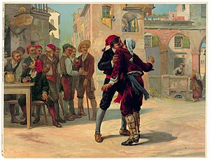 Illustration from Cavalleria rusticana of Turiddu biting Alfio's ear