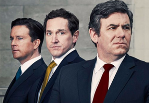 Coalition (film) - Promotional image. From left to right: Mark Dexter as David Cameron, Bertie Carvel as Nick Clegg and Ian Grieve as Gordon Brown