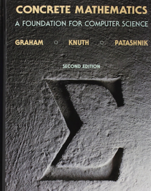 Concrete Mathematics - The cover displays the mathematical symbol for summation, ∑, inscribed in concrete.