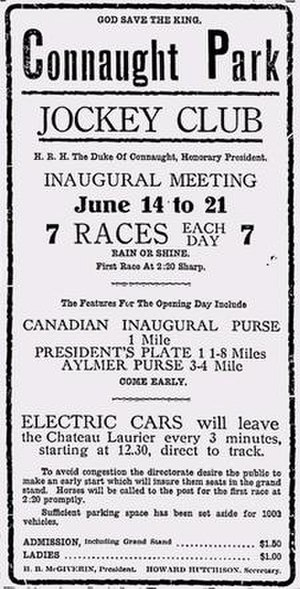 Connaught Park Racetrack - Opening day advertisement for Connaught