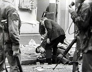 1972 Donegall Street bombing - One of the 148 people injured in the Provisional IRA car bomb explosion in Belfast city centre which killed seven men
