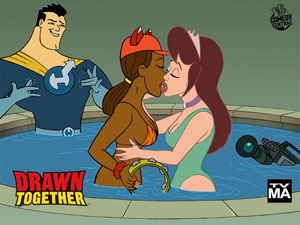 Drawn Together - The hot tub kiss as depicted on promotional posters.