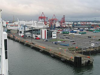 Dublin Port - Dublin Port viewed from MV Ulysses (Irish: Calafort Átha Cliath)