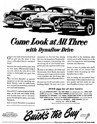 Dynaflow - 1949 Buick newspaper advertisement for its cars with the Dynaflow transmission.