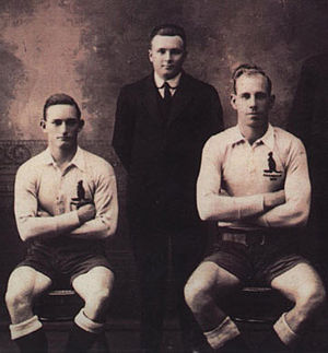 Norm Potter - Potter right, 1920 with fellow Queenslanders Harry Fewin and Harry Sunderland.