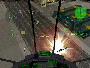 G-Police - The game is based around piloting aircraft and shooting enemies.
