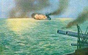 HMS Africa (1905) - HMS Africa firing a broadside