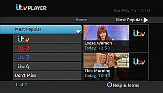ITV Hub - ITV Player Beta as displayed by Freesat