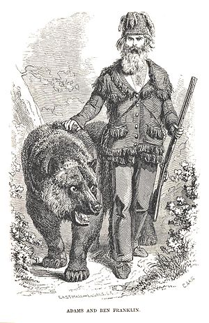 "John ""Grizzly"" Adams - ""Grizzly"" Adams, with his grizzly bear, Benjamin Franklin, from the 1860 Hutchings' Illustrated California Magazine"