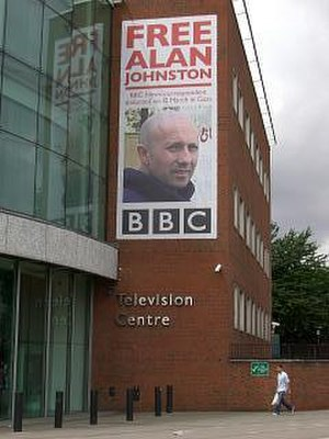 Kidnapping of Alan Johnston - Alan Johnston banner in Wood Lane, London W12
