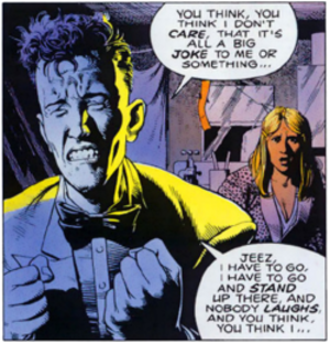 Batman: The Killing Joke - Joker, before his accident, with his pregnant wife; art by Brian Bolland and John Higgins