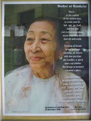 "Ludu Daw Amar - A poem for the ""Mother of Mandalay"" - 85th. birthday tribute, November 2000"