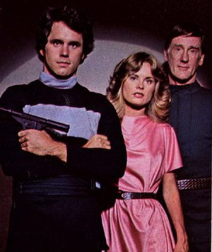 Logan's Run (TV series) - Gregory Harrison as Logan 5, Heather Menzies as Jessica 6, and Donald Moffat as Rem