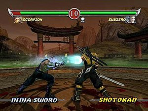 Mortal Kombat: Deadly Alliance - Gameplay screenshot of a fight between Scorpion and Sub-Zero