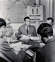 Viceroy Louis Mountbatten with a countdown calendar to the Transfer of Power in the background