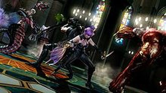 Ninja Gaiden 3 - A promotional screenshot showing the cooperative gameplay mode with Ayane